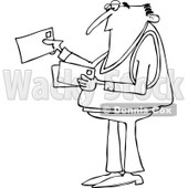 Clipart of a Black and White Man Looking at Letter Mail Envelopes - Royalty Free Vector Illustration © djart #1230186