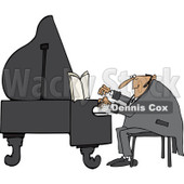 Clipart of a White Pianist Man Playing Music - Royalty Free Vector Illustration © djart #1230194