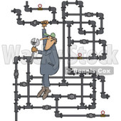 Clipart of a White Man Plumber Hanging from a Pipe Maze - Royalty Free Vector Illustration © Dennis Cox #1230195