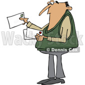 Clipart of a White Man Looking at Letter Mail Envelopes - Royalty Free Vector Illustration © djart #1230196