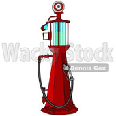 Clipart of a Red Old Fashioned Gas Pump - Royalty Free Illustration © Dennis Cox #1230353