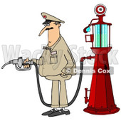 Clipart of a Male Attendant by an Old Fashioned Gas Pump - Royalty Free Illustration © Dennis Cox #1230354
