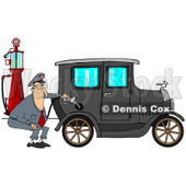 Clipart of a Male Attendant Pumping an Antique Car with an Old Fashioned Gas Pump - Royalty Free Illustration © djart #1230499