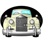Clipart of a Vintage Antique Luxury Car over a Black Oval - Royalty Free Illustration © djart #1230500