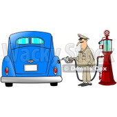Clipart of a Male Attendant Pumping an Antique Blue Car with an Old Fashioned Gas Pump - Royalty Free Illustration © djart #1230501