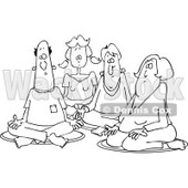 Clipart of a Black and White Group of Men and Women Meditating - Royalty Free Vector Illustration © djart #1231050