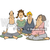 Clipart of a Group of Caucasian Men and Women Meditating - Royalty Free Vector Illustration © djart #1231051