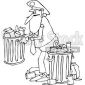 Clipart of a Black and White Man Picking up a Garbage Can - Royalty Free Vector Illustration © djart #1231053