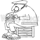 Clipart of an Outlined Man Sitting on a Crate and Playing a Drum - Royalty Free Vector Illustration © djart #1231227