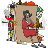 Clipart of an African American Woman Pushing Her Back Against a Full Closet - Royalty Free Vector Illustration © djart #1232327