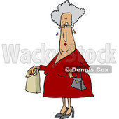 Clipart of a Senior Caucasian Woman with a Paper Bag - Royalty Free Vector Illustration © djart #1232328
