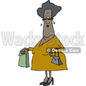 Clipart of a Senior African American Woman with a Paper Bag - Royalty Free Vector Illustration © djart #1232329