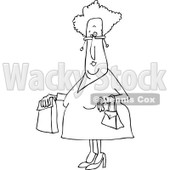 Clipart of a Black and White Senior Woman with a Paper Bag - Royalty Free Vector Illustration © djart #1232330