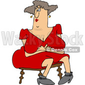 Clipart of a Sitting Caucasian Woman with Large Breasts - Royalty Free Vector Illustration © djart #1235309