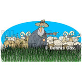 Clipart of a Pointing Shepherd in Tall Grass with Sheep Rams - Royalty Free Illustration © djart #1235310