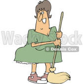 Clipart of a Happy Caucasian Woman Mopping - Royalty Free Vector Illustration © djart #1235311