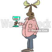 Clipart of a Casual Moose Holding a Glass of Wine - Royalty Free Vector Illustration © Dennis Cox #1235313