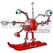 Clipart of a Red Skiing Robot - Royalty Free Illustration © djart #1235898
