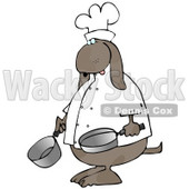 Dog Chef Cooking With Pans Clip Art Illustration © Dennis Cox #12361