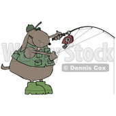 Dog in a Vest and Hat, Fishing Clip Art Illustration © Dennis Cox #12362