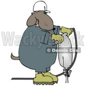 Construction Worker Dog in a Hardhat Using a Jack Hammer Clip Art Illustration © Dennis Cox #12363