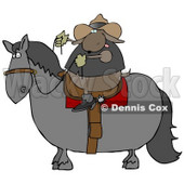 Cowboy Dog Riding a Horse Clip Art Illustration © Dennis Cox #12364