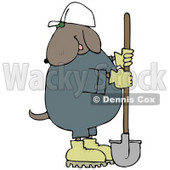 Cosntruction Worker Dog in a Hardhat Using a Shovel Clip Art Illustration © Dennis Cox #12365