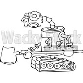 Clipart of a Black and White Sad Robot with a Snow Shovel - Royalty Free Vector Illustration © djart #1236529