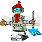 Clipart of a Winter Robot with a Snow Shovel - Royalty Free Vector Illustration © djart #1236531