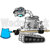 Clipart of a Sad Robot Holding a Snow Shovel - Royalty Free Illustration © djart #1236532