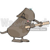 Handy Dog Using a Ruler Clip Art Illustration © Dennis Cox #12366