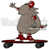 Cool Dog Riding a Skateboard Clip Art Illustration © Dennis Cox #12367