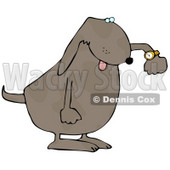 Rushed Dog Checking His Wrist Watch Clip Art Illustration © Dennis Cox #12368