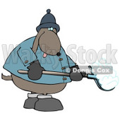 Cold Dog Shoveling Snow Clip Art Illustration © djart #12370