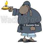 Tired Dog in a Robe, Holding a Candle Clip Art Illustration © Dennis Cox #12371