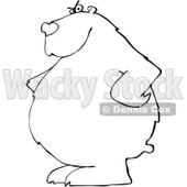 Clipart of a Black and White Bear with His Hands on His Hips - Royalty Free Vector Illustration © Dennis Cox #1237198