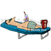 Relaxed Man With a Beverage Sun Bathing on a Lounge Chair Clipart Picture © Dennis Cox #12372