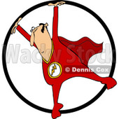 Clipart of a Circus Acrobatic Man in a Cape, Using a Cyr Wheel - Royalty Free Vector Illustration © djart #1237200