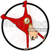 Clipart of a Circus Acrobatic Man Spinning Upside down in a Cyr Wheel - Royalty Free Illustration © djart #1237201