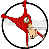Clipart of a Circus Acrobatic Man Upside down in a Cyr Wheel - Royalty Free Vector Illustration © djart #1237202