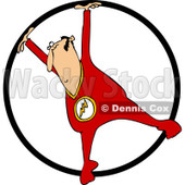 Clipart of a Circus Acrobatic Man Using a Cyr Wheel - Royalty Free Vector Illustration © djart #1237203