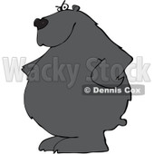 Clipart of a Stern Black Bear with His Hands on His Hips - Royalty Free Vector Illustration © Dennis Cox #1237204