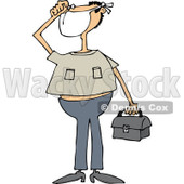 Clipart of a White Man Wearing a Mask and Holding a Bag - Royalty Free Vector Illustration © djart #1237205