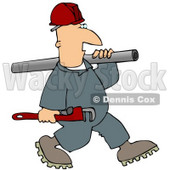Plumber Man Carrying a Wrench and Pipe Clipart Picture © djart #12374