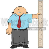 Balding Businessman Holding a Large Ruler Clipart Picture © djart #12375