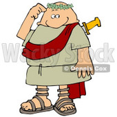 Confused Roman Man Rubbing His Head After Being Stabbed in the Back Clipart Picture © djart #12376