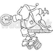 Clipart of a Black and White Man in Pajamas, Springing Forward with a Clock - Royalty Free Vector Illustration © djart #1237626