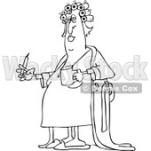 Clipart of a Black and White Fat Woman in Curlers and a Robe, Smoking a Cigarette and Holding Coffee - Royalty Free Vector Illustration © djart #1237630