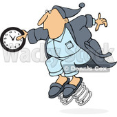 Clipart of a Caucasian Man in Pajamas, Springing Forward with a Clock - Royalty Free Vector Illustration © djart #1237633