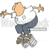 Clipart of a Caucasian Man Jumping on Springs, Spring Forward Daylight Savings - Royalty Free Vector Illustration © djart #1237636